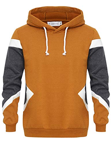 GLESTORE Sweat-Shirt Capuche et Slim Fit Hoodies Homme Col Rond Manches Longues Marron M