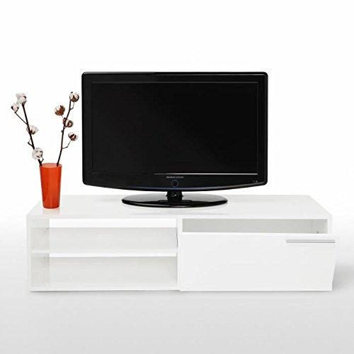 a8d62c86d2166c Kikua Meuble Tv 130Cm Blanc Brillant - Couleur   Blanc