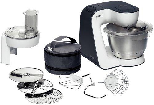 Bosch MUM52110 Robot culinaire Styline 700 W Bol mélangeur inox Râpeur/éminceur Crochets pétrisseurs Fouets à battre et à mélanger