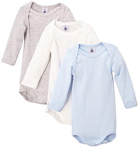 Petit Bateau - Body - Uni - Lot de 3 - Bébé garçon - Multicolore (Special Lot 00) - FR: 18 mois (Taille fabricant: 18 mois)