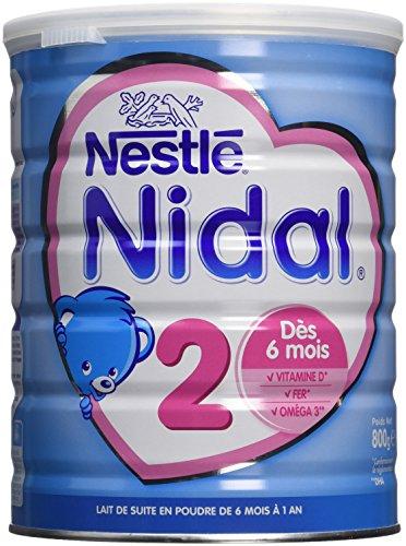 Nestlé Nidal - Lait Infantile 2ème Age dès 6 Mois - Boîte de 800 g - Lot de 3