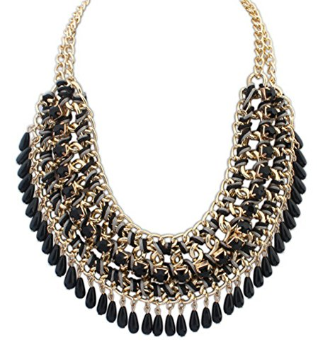 Bohemian Vintage Perles Tassel Bib Style Pull Collier Fashion Necklace (Noir)