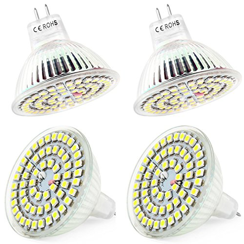Ampoule MR16, Lot de 4 Ampoule Led MR16 3528SMD 60LEDs 12V/DC (MR16 3W, Blanc Froid)