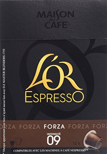L'OR Espresso Forza 10 Capsules de café compatibles - Lot de 4 (40 capsules)