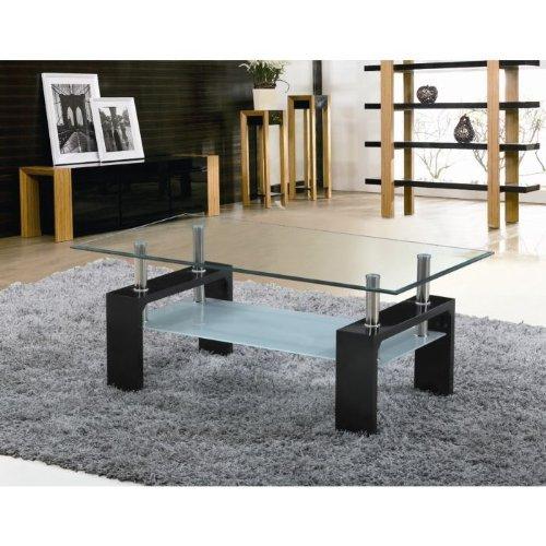 Sofia table basse laqu e noire plateau verre prix 59 99 - Table basse noire laquee ...