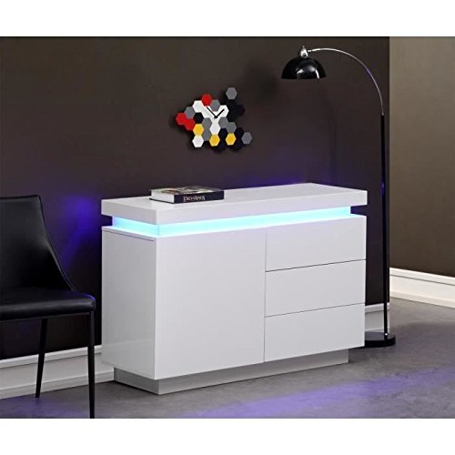 Flash buffet 110cm blanc laqu avec led bleue prix 229 99 - Buffet laque blanc led ...