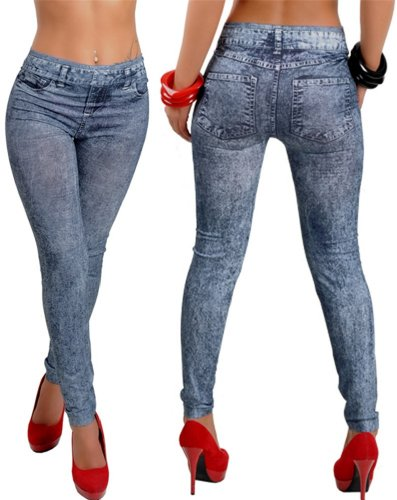 Qiyun Jeggings Bleu Pantalon Leggings De Femmes De Guetres Crayon Jean Slim Collants Pantalon Leggings Bleu 11