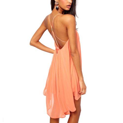DJT Sexy Robe Sling Strap Mini Club cocktail robe de soirée de soie-Femmes Corail XL