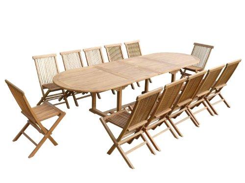 Teck\'Line - Salon de jardin en teck HONEYBERRY Giant 12 chaises ...