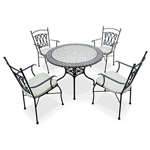 Alice 39 s garden salon de jardin table ronde 100cm 4 places mosa que granit beige zellige Salon de jardin table ronde verre