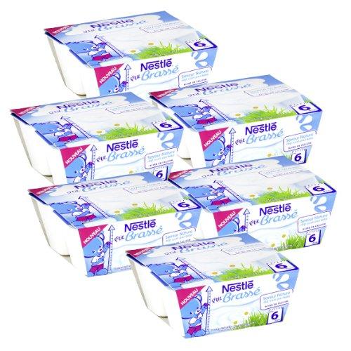 Bébé Nestlé P'tit Brasse Nature - Laitage pour bébé dès 6 Mois - 4 x 100 g - Lot de 6 (24 Coupelles)