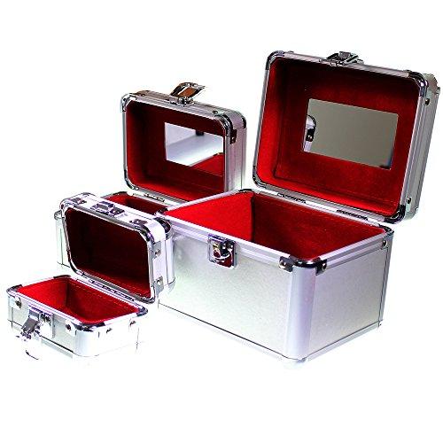 Ensemble de 3 vanity cases argentés emboitables pour produits cosmétiques, bijoux et maquillage par Kurtzy TM.