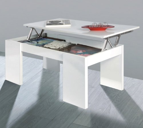 Kendra table basse blanche plateau relevable prix 67 82 - Table basse blanche plateau relevable ...