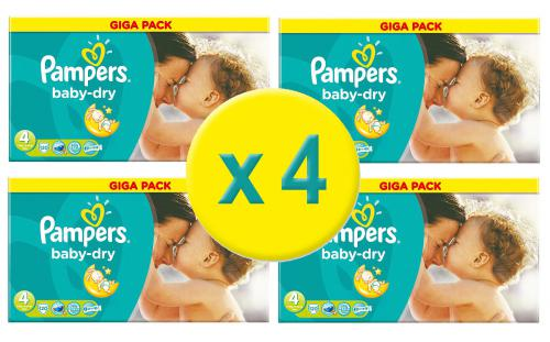 480 Couches Pampers Baby Dry Taille 4 Giga Pack