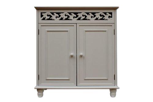 Commode vintage JERSEY blanche dressoir armoire style intérieur 76x65x35cm 2 portes